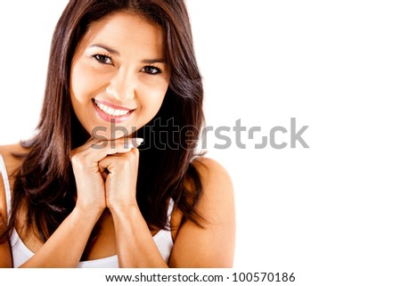 Sweet woman portrait - isolated over a white background
