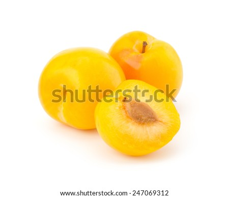 Sweet yellow plum isolated on white background cutout