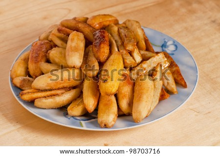 sweetened fried banana fritters (Saba)
