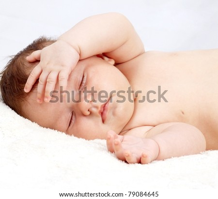 sweetly sleeping baby - stock photo