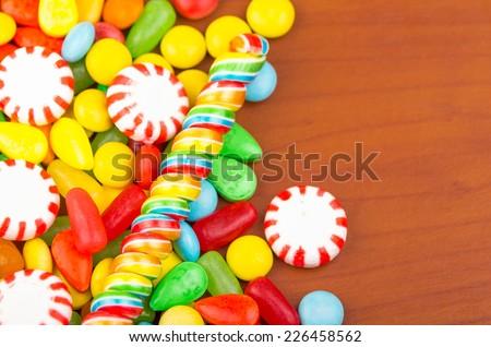 sweets candy caramel colorful assortment texture closeup - stock photo