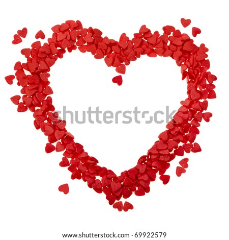 sweets in the shape of a heart on white - stock photo