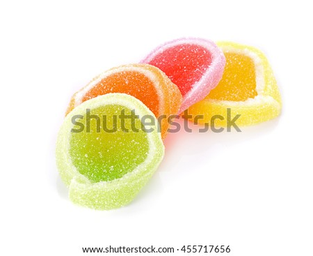 sweets made from sugar on white background