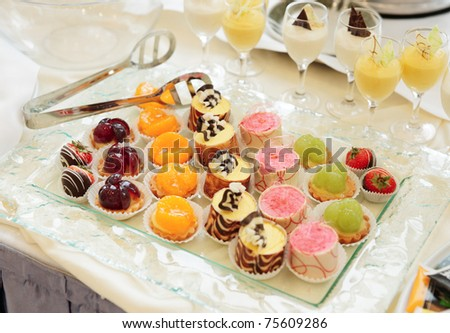 Sweets on banquet table - picture taken during catering event - stock photo