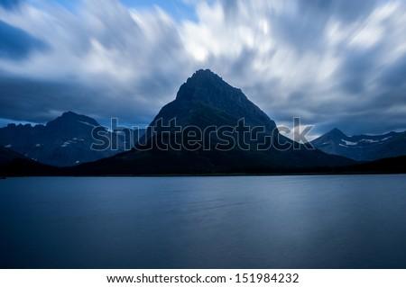 Swiftcurrent Lake - Glacier National Park - stock photo