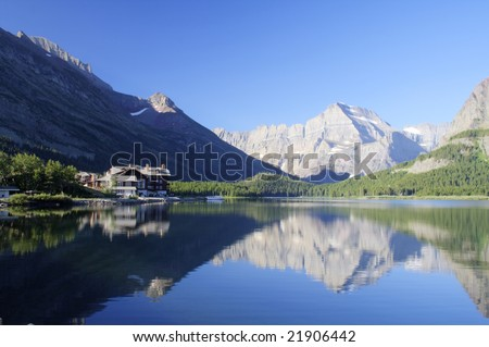 Swiftcurrent Lake in Glacier National Park, Montana - stock photo
