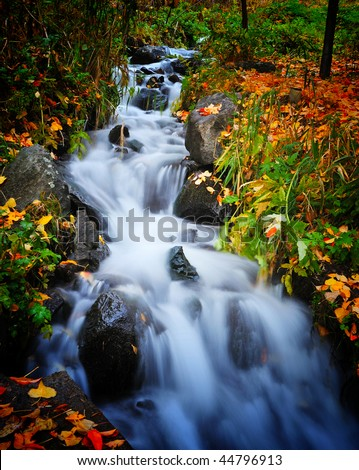 Swiftly moving stream in shades of blue - stock photo