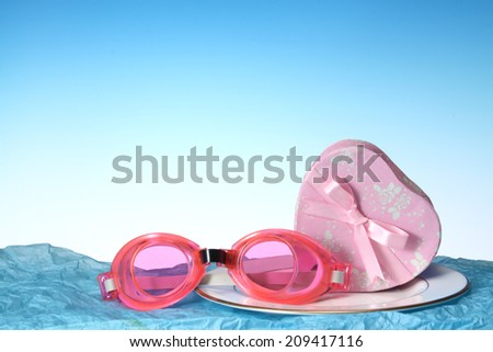 Swim goggles with Gift boxe.  - stock photo