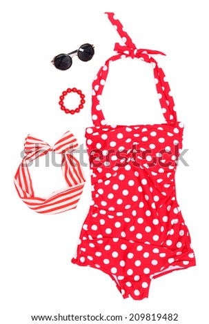 Swim suit and summer accessories - stock photo