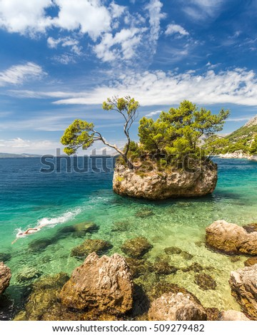 swimmer at a rock Brela in Croatia, Europe