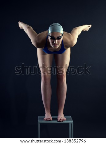 Swimmer at the start. - stock photo