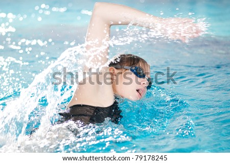 Swimmer breathing performing the crawl stroke - stock photo