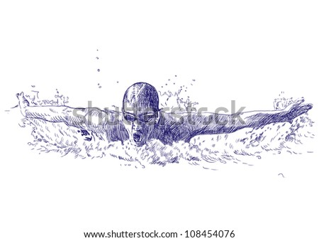 Swimmer, butterfly swiming style - hand drawing picture - This is original blue sketch - stock photo