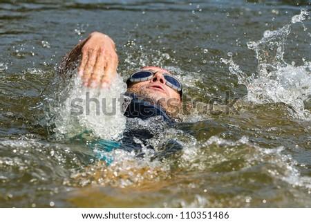 Swimmer in Backstroke - stock photo