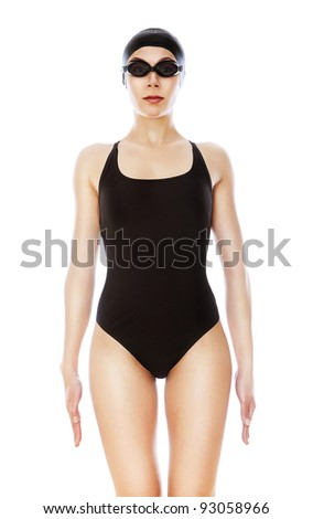 swimmer in black swimwear on whie background - stock photo