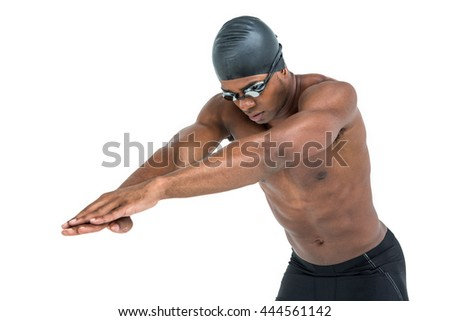 Swimmer ready to dive on white background