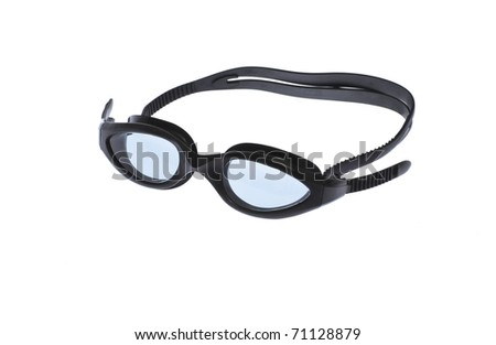 swimming black goggles isolated on white background - stock photo