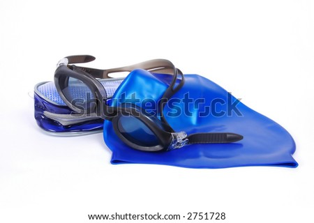 Swimming cap and glasses with case