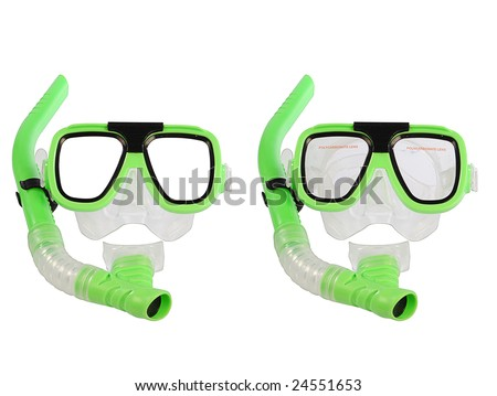 swimming mask isolated on white background - stock photo