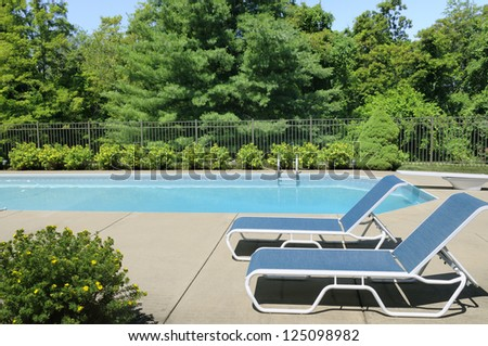 Swimming Pool and Patio - stock photo