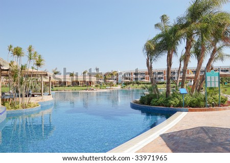 Swimming pool area at VIP villas, Sharm el Sheikh, Egypt