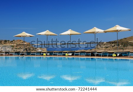 Swimming pool area, Crete, Greece - stock photo