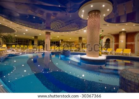 swimming pool at night - stock photo