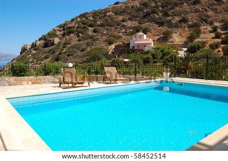 Swimming pool at the luxury villa, Crete, Greece - stock photo