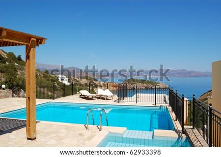 Swimming pool at the luxury villa, Crete, Greece - stock photo