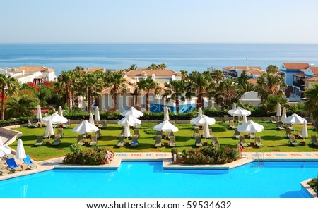 Swimming pool at the  modern luxury hotel, Crete, Greece - stock photo