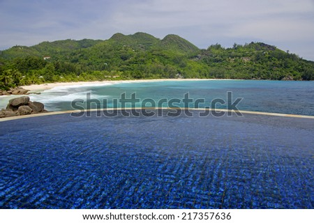 Swimming pool, belonging to a Hotel Room of the Banyan Tree Hotel, Anse Intendance, Mahe', Seychelles - stock photo