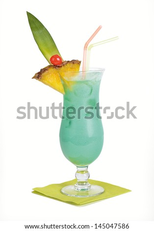 Swimming Pool Cocktail An alcoholic cocktail based on white rum and vodka, belongs to the group of colada and is closely related to the popular Pina Colada. - stock photo