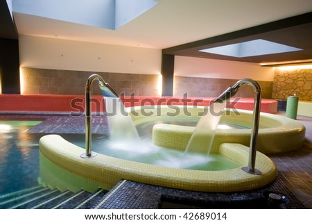 swimming pool detail in a hotel - stock photo