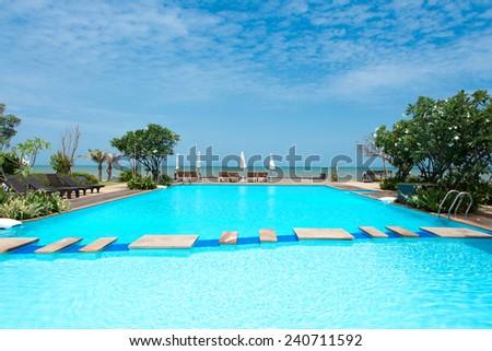 swimming pool in beach - stock photo