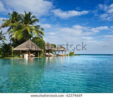 swimming pool in beach resorts - stock photo