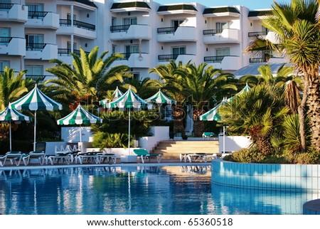 Swimming pool in exclusive hotel-Mahdia,Tunisia. - stock photo