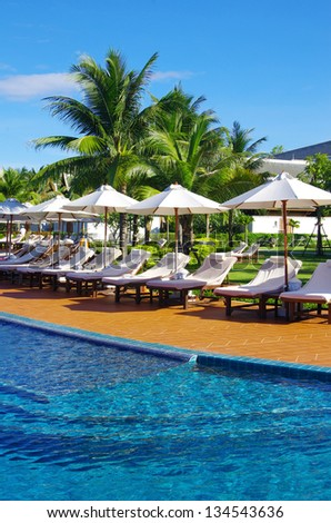 swimming pool in hotel  Thailand - stock photo
