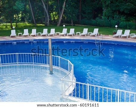 Swimming pool in spa resort - stock photo