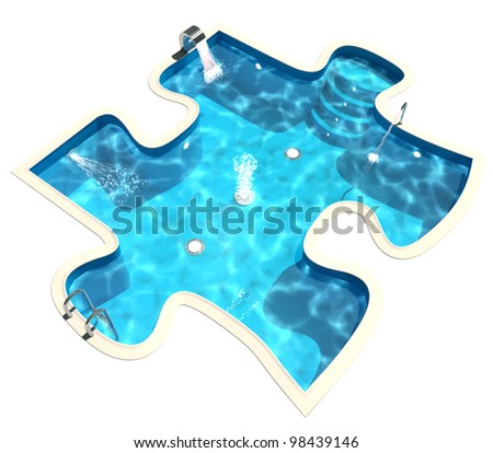 Swimming pool in the form of a puzzle. 3d render - stock photo