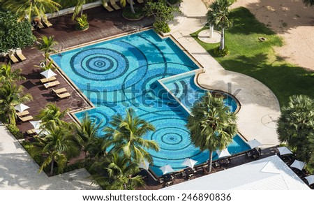 Swimming pool in the resort, view from a high angle. - stock photo