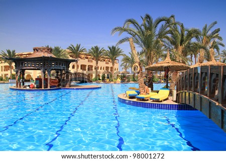 Swimming pool in tropical resort of Sharm el Sheikh, Egypt - stock photo