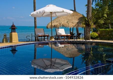 Swimming pool near the sea ,island Koh Chang ,Thailand. - stock photo