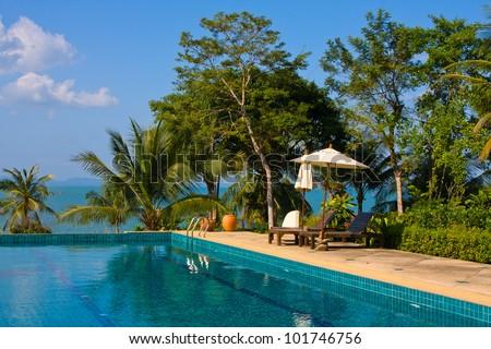 Swimming pool near the sea , Thailand. - stock photo