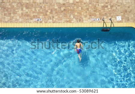 Swimming pool room for your text - stock photo