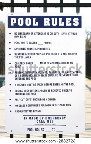 Pool warning stock photos pool warning stock photography - Swimming pool regulations in texas ...