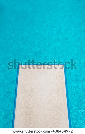 Swimming pool series : Top view springboard - stock photo