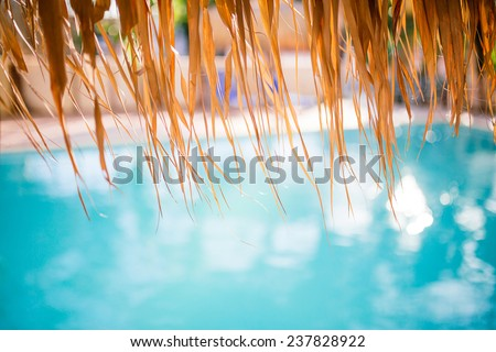 Swimming pool under the straw umbrella. Tropical resort background. Shallow depth of field. - stock photo