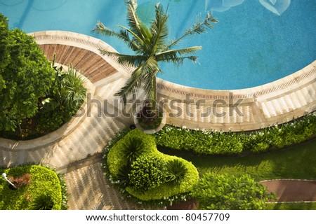 Swimming pool, visual, beautiful landscape aerial - stock photo