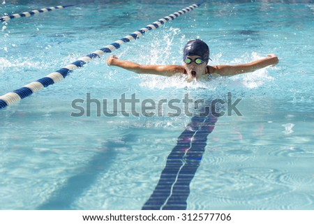 Swimming pool with lane lines - stock photo