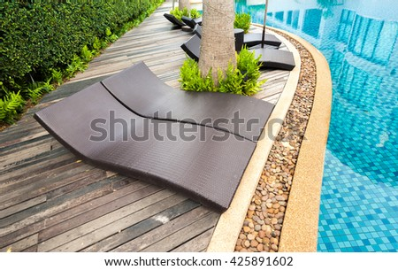 swimming pool with sofa